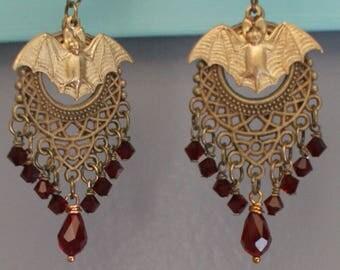 Earrings Ruby Red Earrings Copper Earrings Bat Earrings Dangle Earrings Drop earrings Jewelry Pierced Earrings
