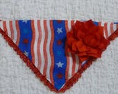 "Custom for Bridgett - Stars on Royal Blue Fancy Bandanchy with red lace and red rayon flower - Size S: 12"" to 14"" neck"