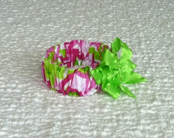"""Pink and Green Pinwheels Dog Scrunchie Collar with lime satin bow - XS: 10"""" to 12"""" neck"""