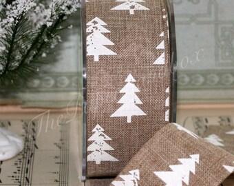 "Natural & White Pine Tree Ribbon, White Christmas, 1.5"" wide by the yard, Kraft Ribbon, Winter Ribbon, Gift Ribbon, Tree Garland"