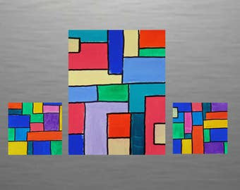 Original Abstract Geometric Painting Triptych Modern Minimalist  Comic  One 9 x 12, Two 6 x 6 on Canvas Linen Paper