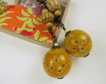 Chain Pull Pair or Lamp Chain with Large Decorative Wood Beads and Bone Accents