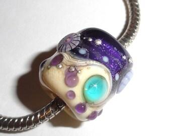 Sea Pandy in Violet and Cream...Handmade Lampwork Beads. Fits European Charm bracelets or smaller Dreadlocks...5mm hole BeatleBabyGlassworks