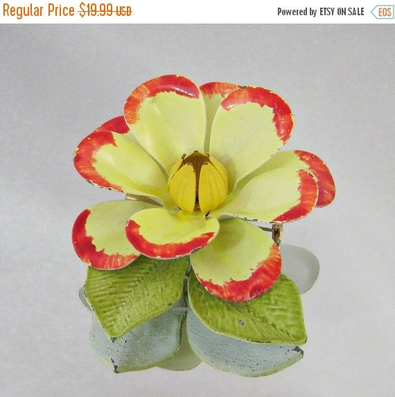 ON SALE Vintage Flower Power Brooch. 70s Retro Mod Yellow, Red, Green