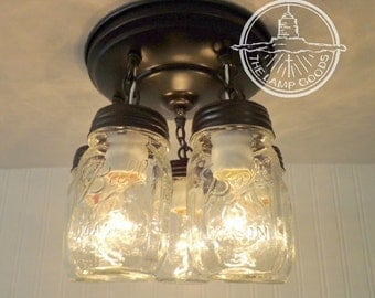 Mason Jar LIGHT FIXTURE New PINT 5-Light - Farmhouse Chandelier Ceiling Kitchen Lighting Pendant Glass Track Fan by Lamp Goods
