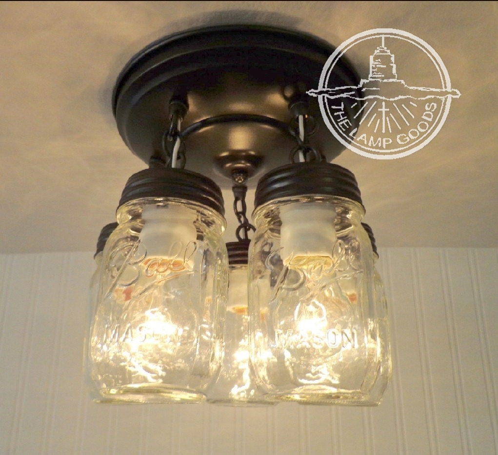 mason jar light fixture new pint 5 light farmhouse. Black Bedroom Furniture Sets. Home Design Ideas