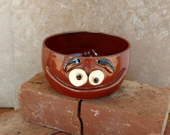 Cinnamon Spice Red Funny Cereal Bowl with Happy Face. Ice Cream Snack Popcorn Bowl. Microwave and Dishwasher Safe