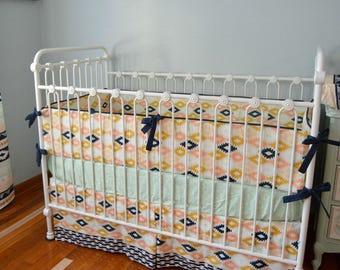 Aztec Crib Bedding- Arizona Agave with metallic gold crib sheet and bumpers