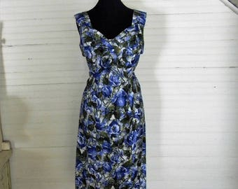 Vintage 1960s Dress, Watercolor Floral Print Dress Size Medium 60s Wiggle Dress, 1960s Party Dress Blue Floral Print Cotton Dress Size Med