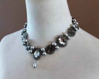 CUSTOM Gunmetal Finish Anne Tudor Renaissance Victorian Medieval Necklace Jewelry Game of Thrones