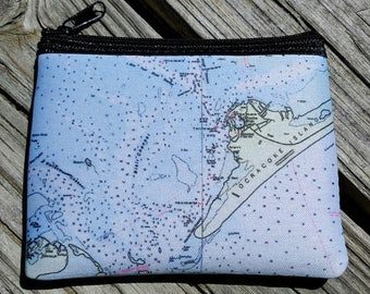 Ocracoke NOAA Chart Coin Purse zippered pouch neoprene Inlet Portsmouth Island