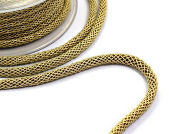 Beige braided silk cord, bookbinding rope, thick cord - 6mm, 1m