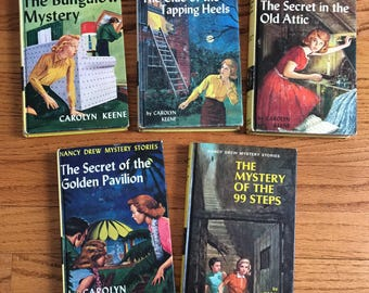 Vintage 1960s Childrens Book Set / 60s Nancy Drew Mystery Chapter Books Set of 5 Hc / The Original Girl Hero, Girl Detective, Girl Rebel