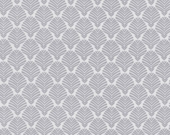 Vanessa Fabric Collection Palm Leaves Leaf Blender Silver Gray TT