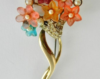 Italian 800 silver gold plated Fruit Salad Spray Brooch - glass flowers bouquet accented by tiny pearls and crystals - Art.606/4