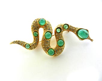 Rare authentic Christian Dior glass Gripoix faux emerald  snake brooch-Jeweled figural snake brooch  high-end line of fine jewelry-Art.770/4