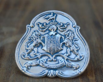 Vintage Silver Shield Pin . 2 Lions . Unique Pin