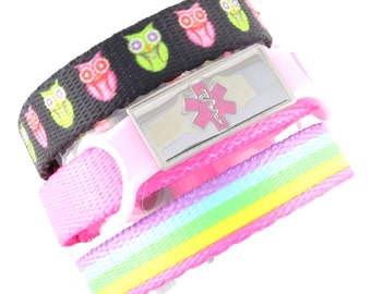 Hoot and Rainbow Lights Triple Pack Medical Bracelets