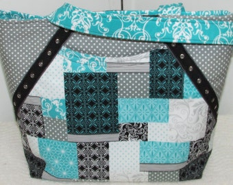 Grey and Aqua Patchwork Tote Bag Cherish Patchwork Purse Black and Teal Shoulder bag Ready To Ship