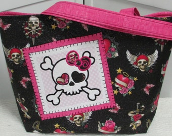 Girly Skull Large Tote Bag in Hot Pink and  Black Tattoo Skulls Purse Tattoo hearts and Roses Shoulder bag Ready To Ship