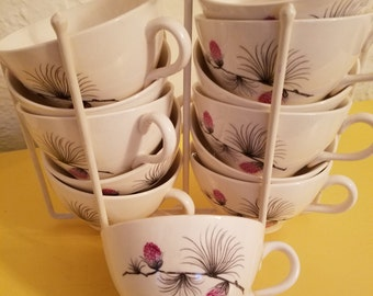 Canonsburg Wild Clover Twelve & Stand Ceramic Coffee Tea Cups Mid Century Modern  Retro Vintage