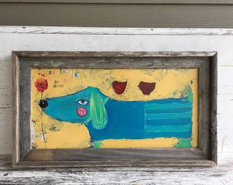 Daschund painting with birds, whimsical painting, 10 x 20 canvas painting, weiner dog painting, original art, blues and yellows, do good
