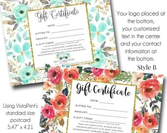 Gift Certificates, Made to Match your Branding, Using your Logo.  Gift Certificate Printable, Boutique Gift Certificate