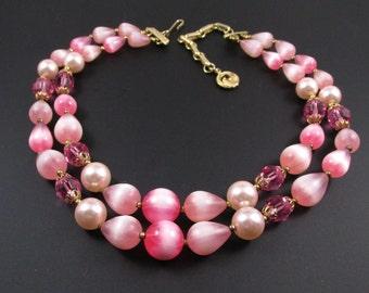 Pink Multi Strand Necklace, Pink Necklace, Layered Necklace, Beaded Necklace, Pastel Necklace, Lisner Necklace, Spring Necklace