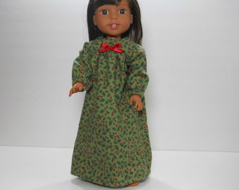 Designed for 14.5 inch dolls such as Wellie Wishers, Green Holly Nightgown, 10-1446