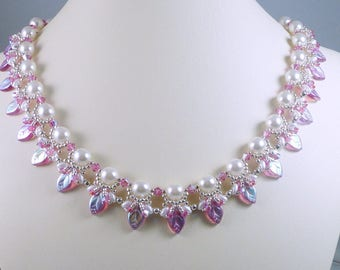 Woven Pearl Necklace with Pink Leaves and Swarovski Crystals