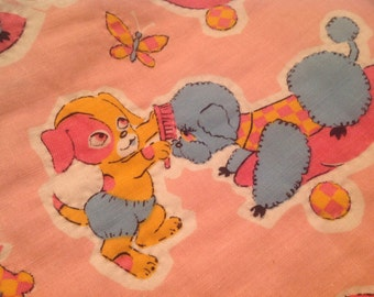 Vintage Baby Quilt ~ Hand Stitched Baby Blanket ~ Poodles Puppies ~ Retro Print ~ Pink, Blue, Orange ~ Floral and Dog Fabric ~ Home Decor