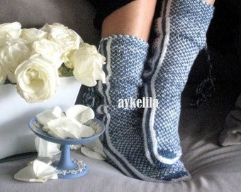 Winter Booties, Slippers, Wool Socks, Mukluk, Long Slippers, Womens Slippers, Leg Warmers, By Aykelila