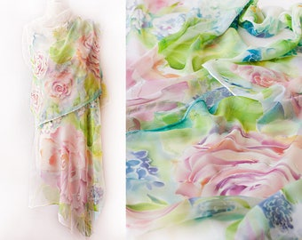 Wedding Cover Up Silk Shawl Roses and Hortensia Hand Painted Custom Made