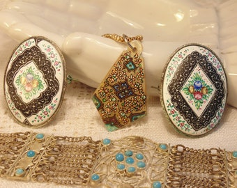 4 Pc Vintage Jewelry Lot India Jewelry Boho Bracelet Enamel Brooch Silver Bracelet Resale Lot Resell Lot