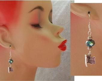 USA Flag Charm Drop/Dangle Earrings Handmade Jewelry Silver Blue Hook Fashion