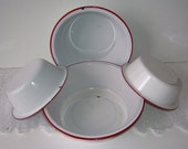 4 White Enamel Red Trim Round Metal Pans, Matching Pan Sets, Farm House Kitchen, Shabby Cottage Kitchen, French Country, Rustic Farm House