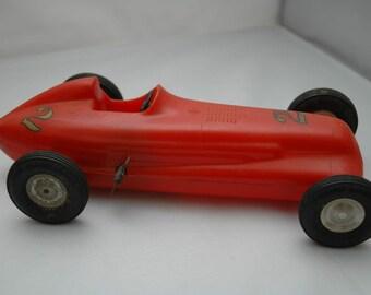 Antique Rite Spot Plastic Products Wind Up Red Racer Car #2 | Vintage Racing Toys | 1940s Nostalgia | Roadster |Antique Dealer