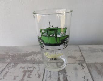 Vintage Hazel Atlas Antique Cars Glass Tumbler Green Old Timers Old Autos 1914 Maxwell 1915 Studebaker Retro Glassware