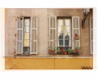 Old Shutters in Nice, France - Computer Enhanced Fine Art Historic City  in Nice, France