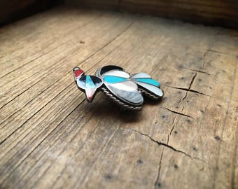 Vintage turquoise thunderbird brooch channel inlay Mother of Pearl jet coral, Southwestern pin, Native American Indian jewelry, Zuni brooch