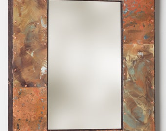 22 x 16 Copper And Metal Border Mirror