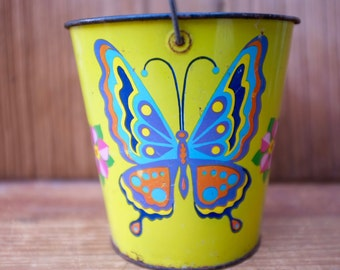 Vintage 1960s J. Chein Tin Metal Beach Sand Bucket with wire bail Psychedelic Butterfly decorations