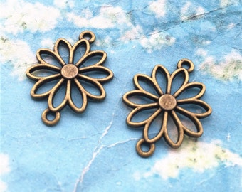 20pcs 25x19mm antiqued bronze Lotus flower connectors charms findings