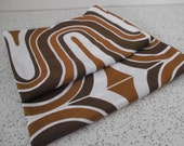 mod geometric in browns and white...pair of vintage pillowcases