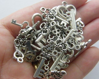 The Bulk Key Charms Collection - 40 antique silver tone key charms, 8 different keys 5 of each type