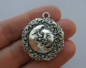 2 Moon sun charms antique silver tone M51