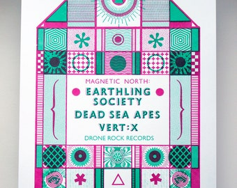Screen Printed Gig Poster - Dead Sea Apes, Earthling Society, Vert:X