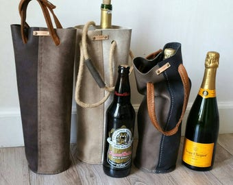Reclaimed Leather Wine and Beer Tote in weathered grey.