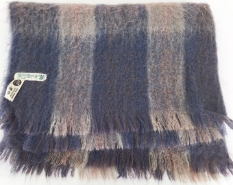 Vintage Plaid Mohair Throw Shades of Blue Made in Scotland.