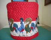 Quilted stand mixer cover - Border of Roosters in blue, red, green and browns with red background